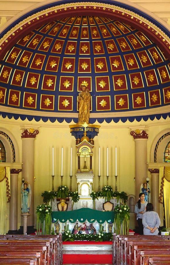 Piękna wewnętrzna dekoracja świętego Joseph kościół w Tajlandia zdjęcia royalty free