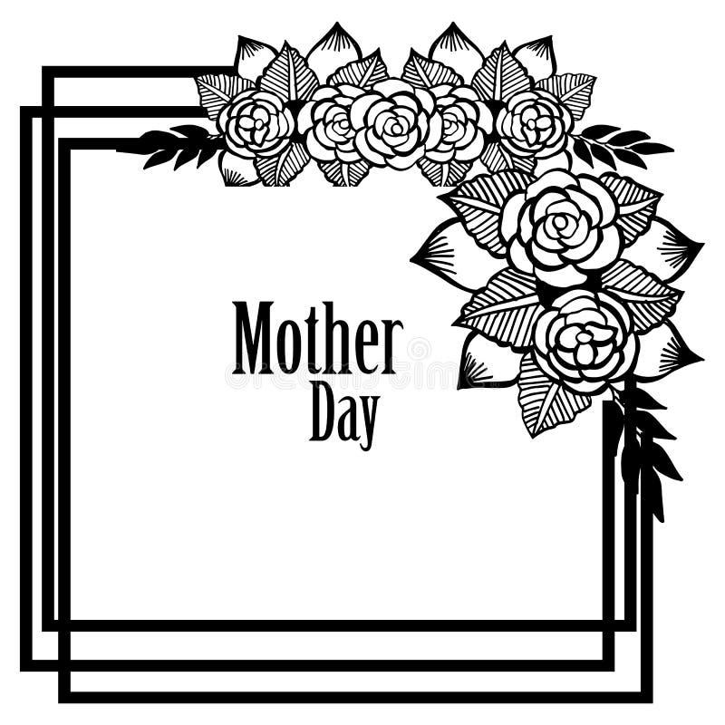 Piękna wianek rama, odosobniona na bielu dla kartka z pozdrowieniami macierzystego dnia, wektor royalty ilustracja