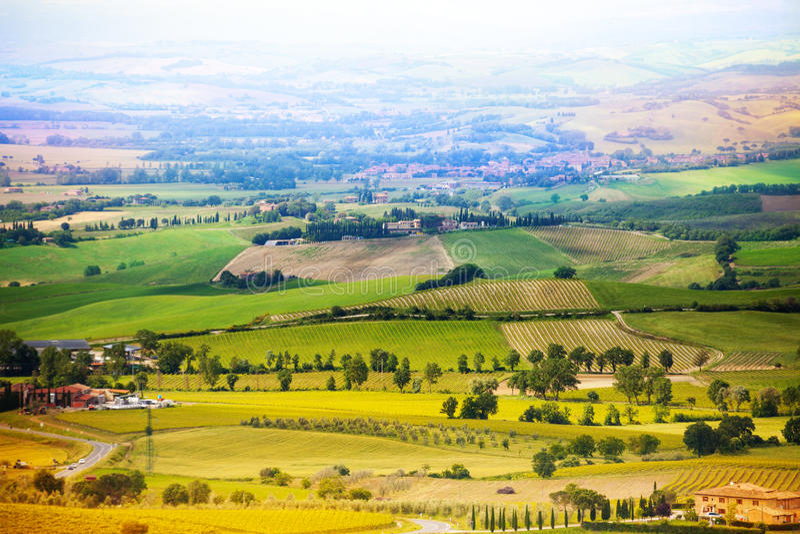 Piękna wieś w Tuscany krajobrazie, Włochy zdjęcia royalty free
