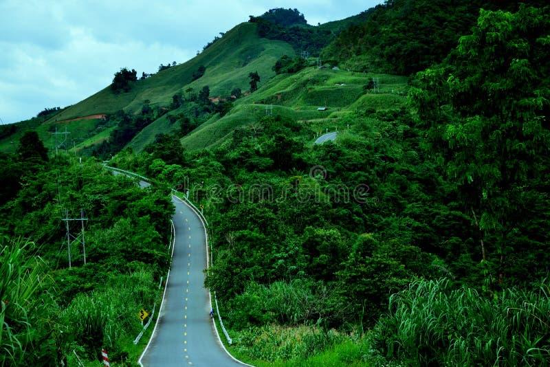 Piękna wiejska droga wzgórze zdjęcia stock