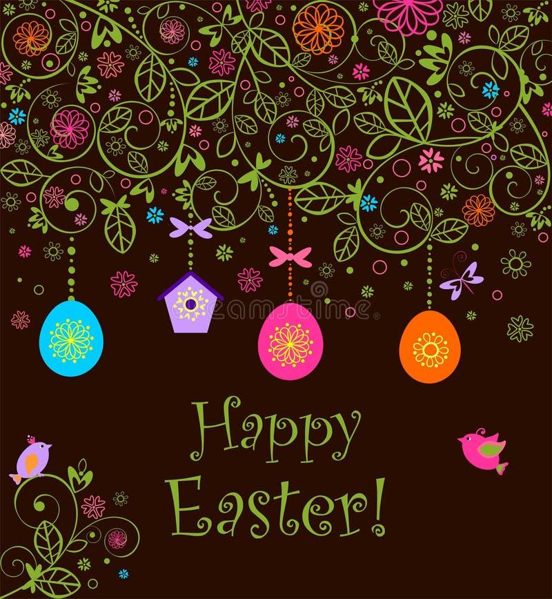 Piękna Wielkanocna dekoracyjna kartka z pozdrowieniami z szydełkową koronkową dekoracją, wiszącymi jajkami, gnieżdżący się pudełk ilustracji