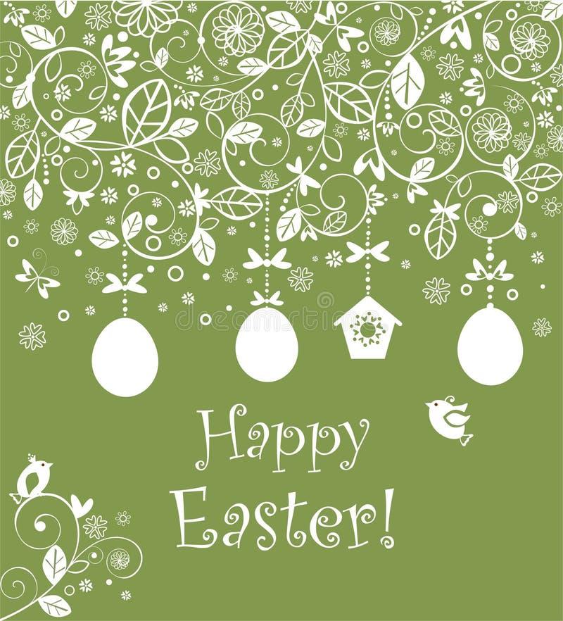 Piękna Wielkanocna dekoracyjna oliwnej zieleni kartka z pozdrowieniami z szydełkową koronkową dekoracją, wiszącymi jajkami, gnież ilustracja wektor