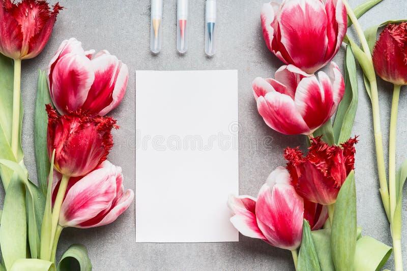 Piękna wiosna tulipanów wiązka z pustą papierową kartą i markierami, odgórny widok Kreatywnie układ zdjęcia royalty free
