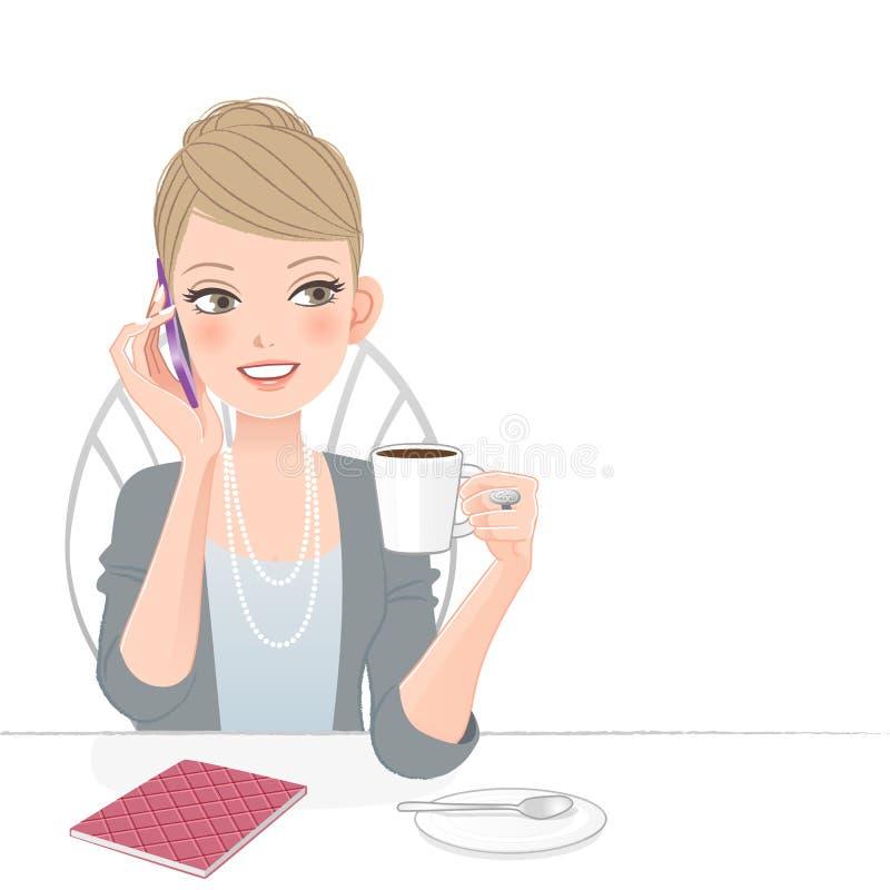 Piękna wykonawcza kobieta opowiada na telefonie ilustracja wektor