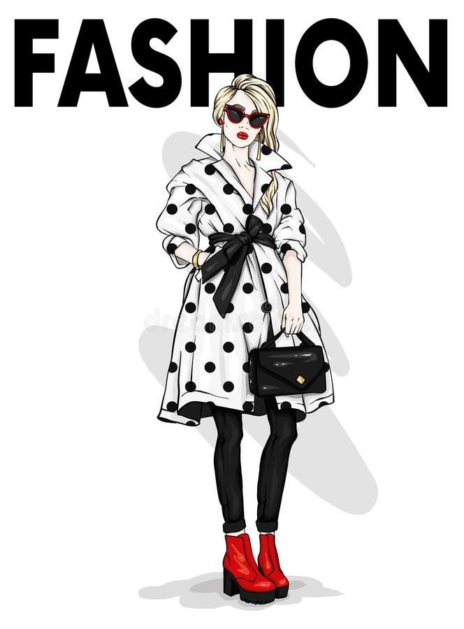 Piękna, wysoka i nikła dziewczyna w eleganckim żakiecie z szkłami, spodnia, szkła, Elegancka kobieta w heeled butach ilustracja wektor
