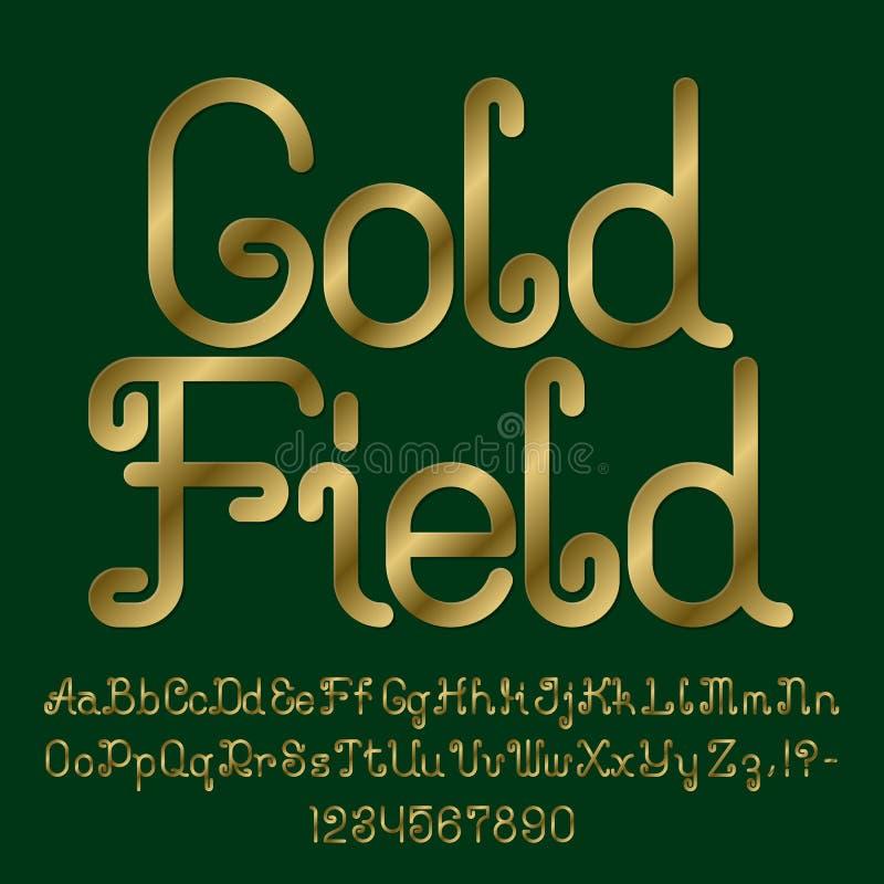 Piękna złota kędzierzawa chrzcielnica Odosobniony angielski abecadło kapitałowi i lowercase listy z liczbami ilustracja wektor