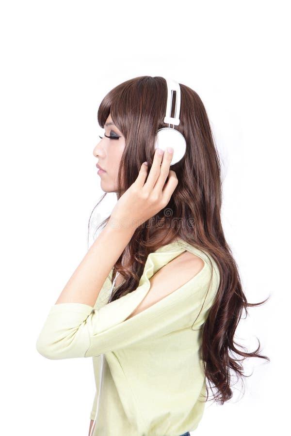 piękna zakończenia oko słucha muzycznych potomstwa obrazy stock