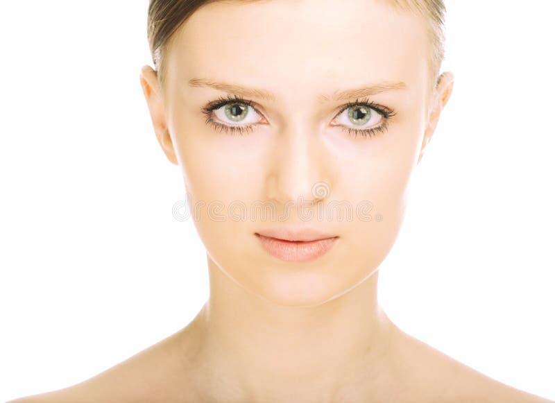 piękna zakończenia twarzy portret w górę kobiety potomstw fotografia stock