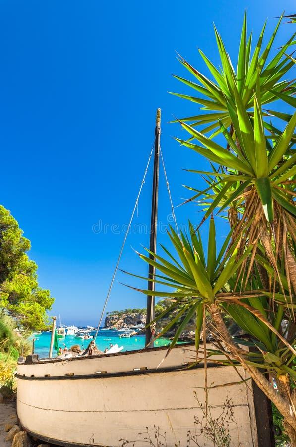 Piękna zatoki plaża przy portalu Vells Majorca Hiszpania morzem śródziemnomorskim obrazy royalty free