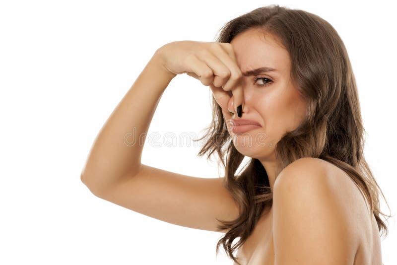 Piękna zdegustowana kobieta zdjęcie stock