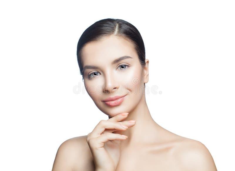 Piękna zdrój kobieta odizolowywająca na bielu Kosmetologia, skincare, estetyczna medycyna i twarzowy traktowania pojęcie, obrazy stock
