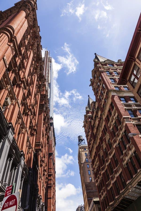 Piękna Zielona ulica w Manhattan z starymi domami, Nowy Jork zdjęcie royalty free