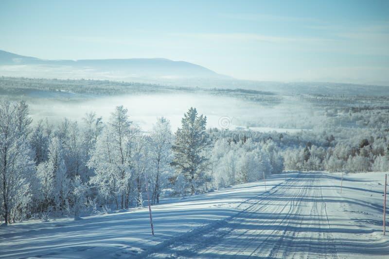 Piękna zimy sceneria z drogą Drewna w Norwegia obrazy royalty free