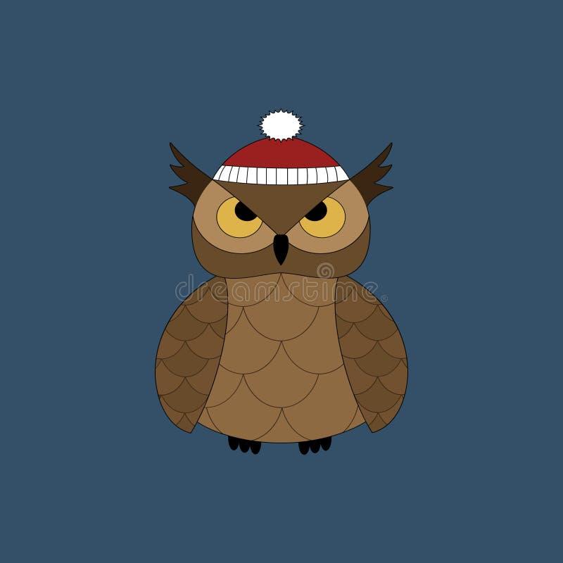 Piękna zimy sowa Wektorowa nowy rok ikona ilustracji