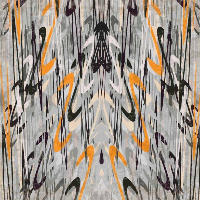 Piękne abstrakcjonistyczne fala w retro stylu na szarym tła grunge wykonują wektorową ilustrację royalty ilustracja