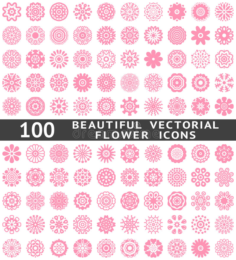 Piękne abstrakcjonistyczne kwiat ikony. Wektor royalty ilustracja