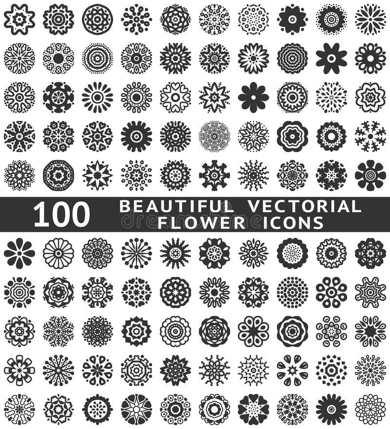 Piękne abstrakcjonistyczne kwiat ikony. Wektor ilustracji