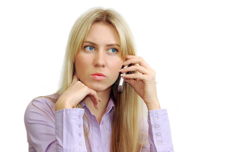 piękne biznesowe telefonu portreta kobiety zdjęcie royalty free
