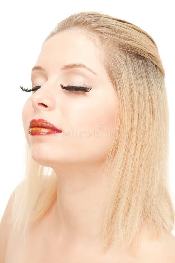 piękne blond rzęsy przedłużają obrazy stock
