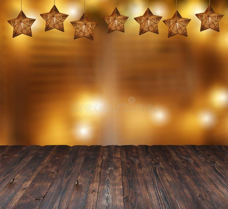 Piękne boże narodzenie gwiazdy i zamazani świeczek światła Miejsce dla teksta na drewnianym tle zdjęcie royalty free