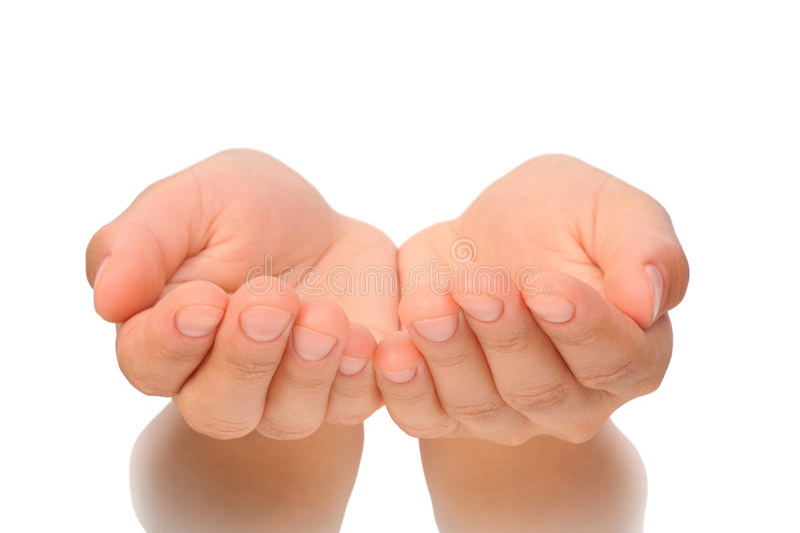 Piękne cupped ręki młoda kobieta - cią out fotografia stock