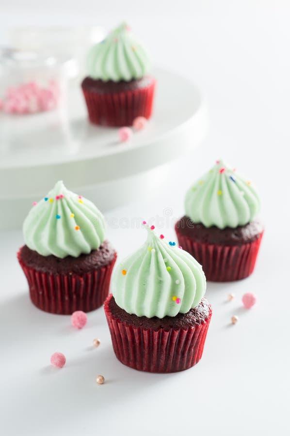 Piękne czekoladowe babeczki z zieloną śmietanką zdjęcia royalty free