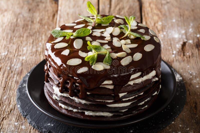 Piękne czekoladowe krepy z batożącym śmietanka tortem dekorowali dowcip obrazy stock