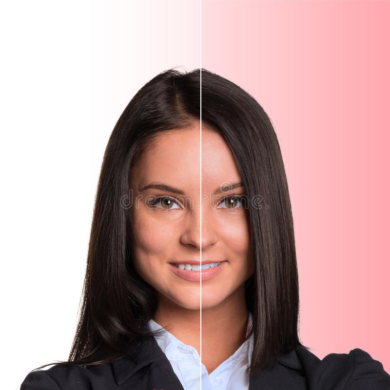 piękne dziewczyny portret young połowa twarzy obrazy stock