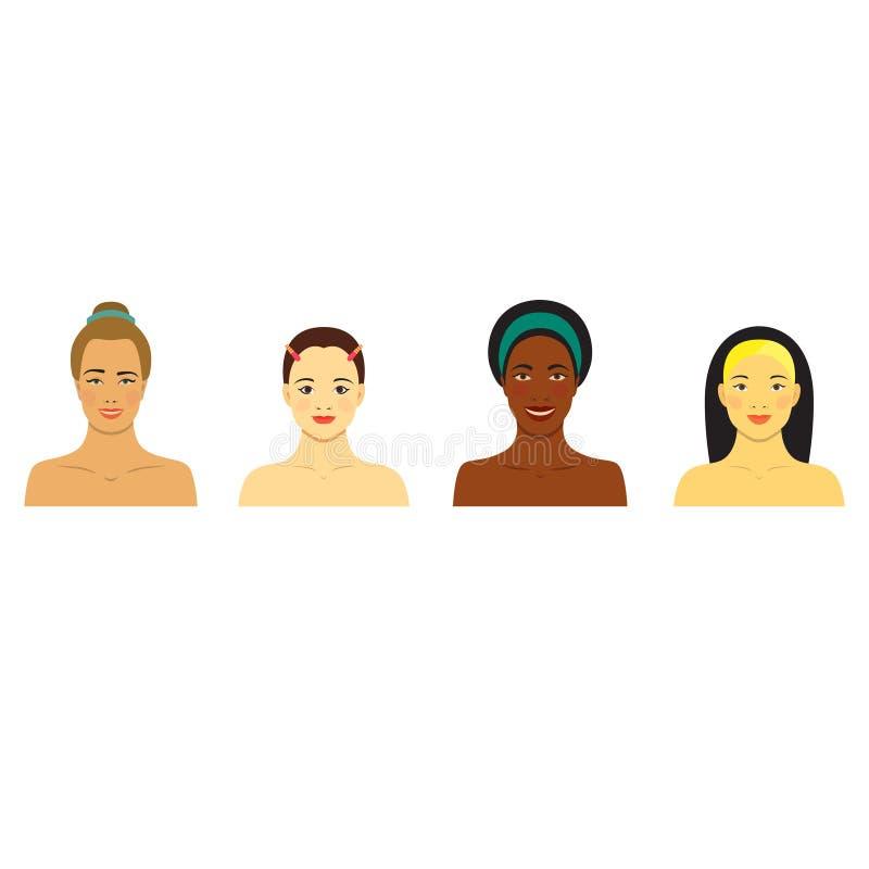 Piękne dziewczyny różne rasy Różni skór brzmienia Set płaskie ikony z uśmiechniętymi kobietami ilustracja wektor