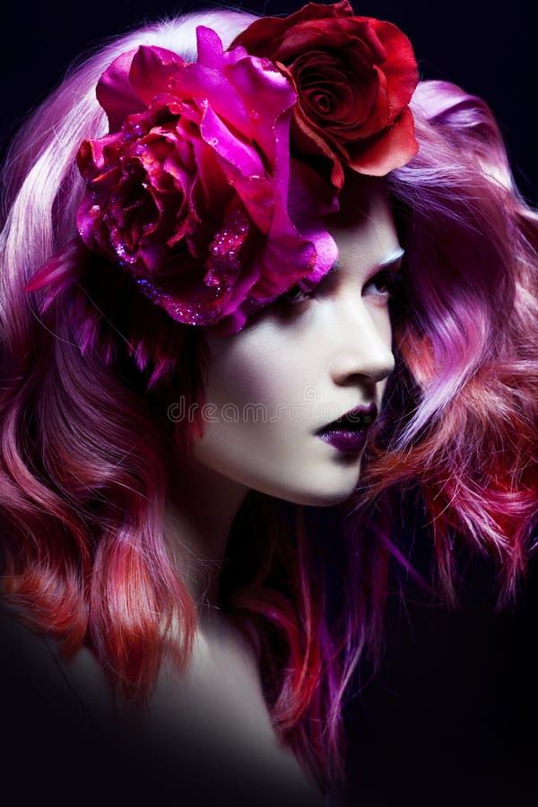 piękne dziewczyny różowe włosy fotografia royalty free
