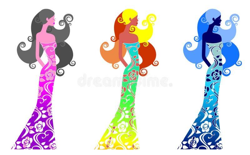 piękne dziewczyny trzy ilustracji