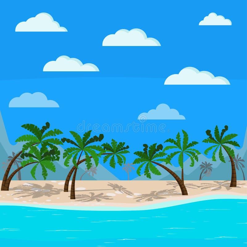 Piękne góry i morze krajobraz: błękitny ocean, drzewka palmowe, chmury, piasek linia brzegowa ilustracja wektor