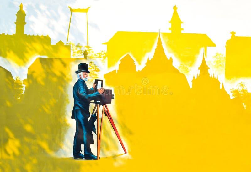 piękne graffiti Tytułowy farby Rattanakosin miasto na ścianach Abst zdjęcia royalty free