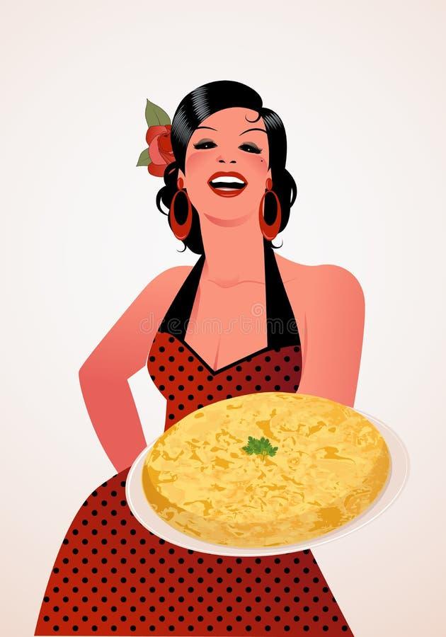 Piękne hiszpańszczyzny Cook z Kartoflanym Omelette ilustracji
