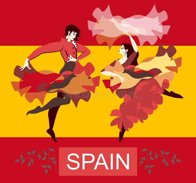 Piękne hiszpańszczyzny dobierają się dancingowego flamenco na Hiszpania flagi państowowej tle Chusta i deszczowiec w postaci lata ilustracja wektor