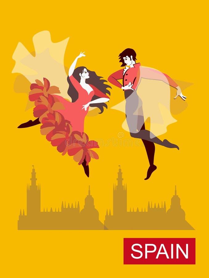 Piękne hiszpańszczyzny dobierają się dancingowego flamenco w żółtym niebie nad miastem abstrakcjonistyczny t?o fantazi ilustraci  ilustracji