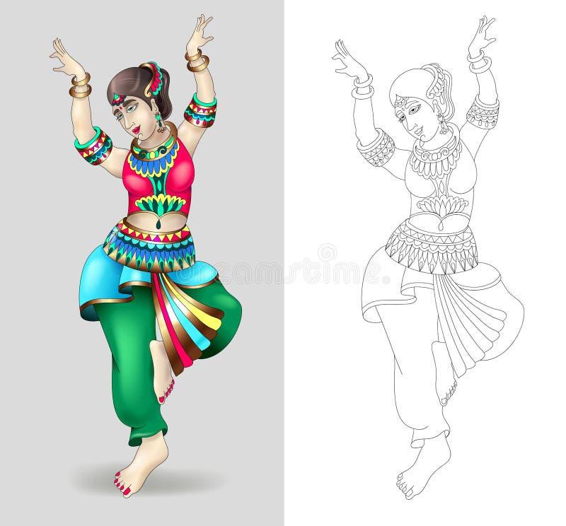 Piękne indyjskie kobiety tanczy kolorystykę odizolowywającą royalty ilustracja