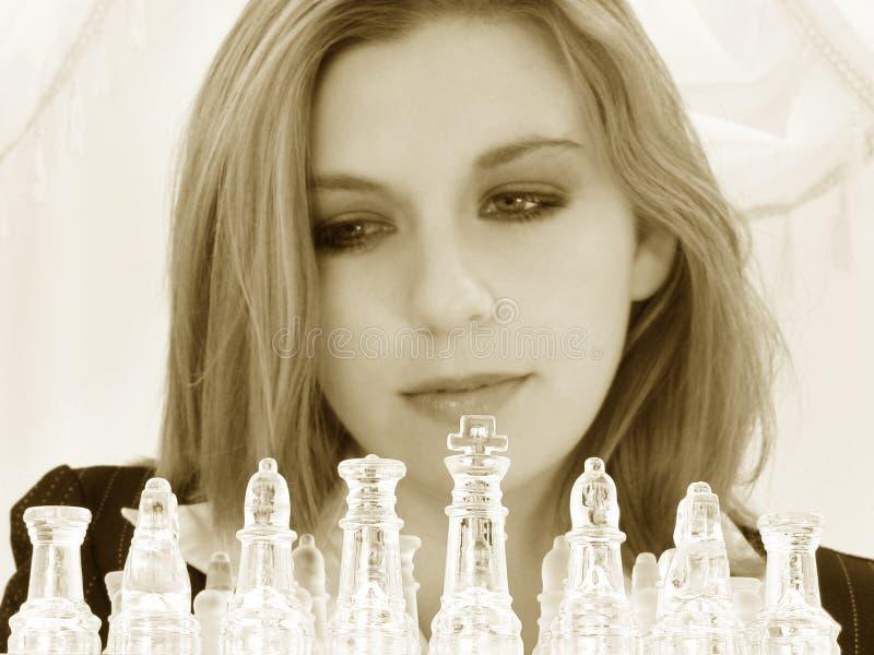 piękne interesy 5 szachy zestawy 20 lat starszy kobiety. obraz stock