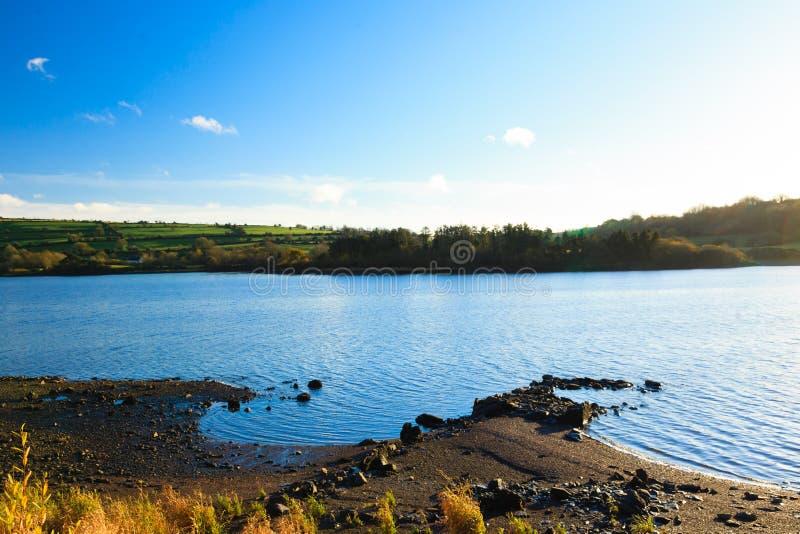 Piękne irlandczyka krajobrazu zieleni łąki przy rzeką Co.Cork, Irlandia. zdjęcie stock
