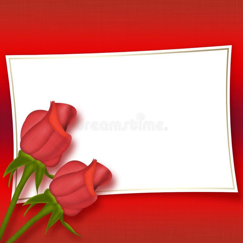 piękne karty czerwone róże royalty ilustracja
