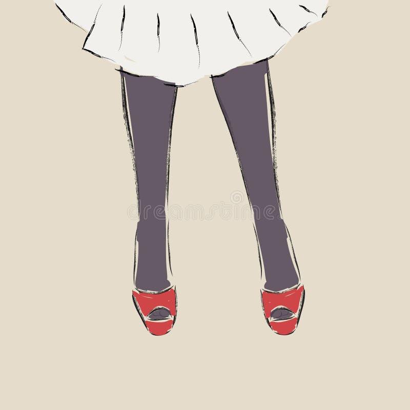 Piękne kobiet nogi jest ubranym szpilki buty royalty ilustracja