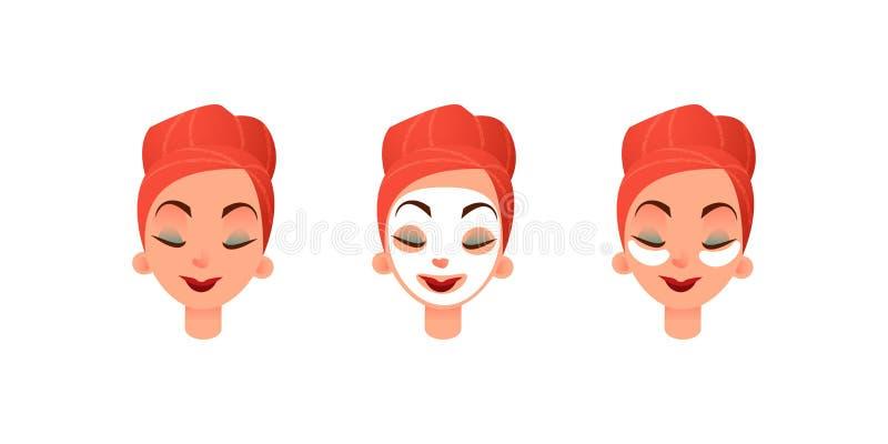 Piękne kobiet s twarze Dziewczyna z purifying oka i maski łatami przeciw okręgom pod oczami Twarzowa i oko opieka ilustracji