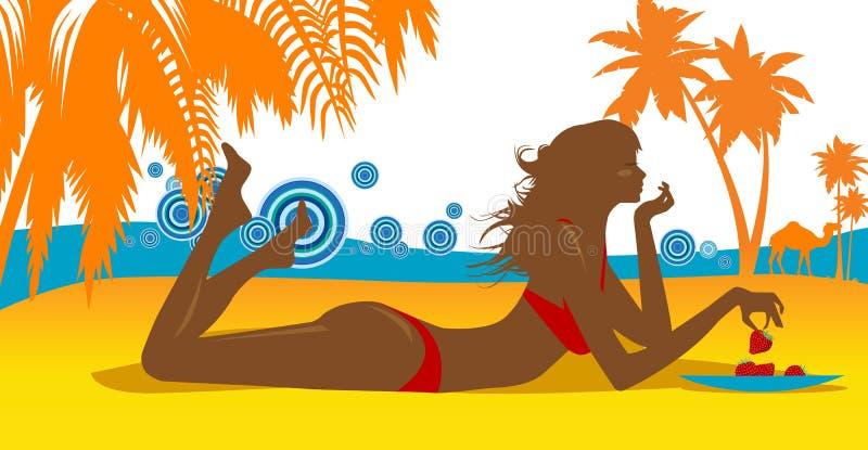 piękne kobiety młodych plażowych ilustracji