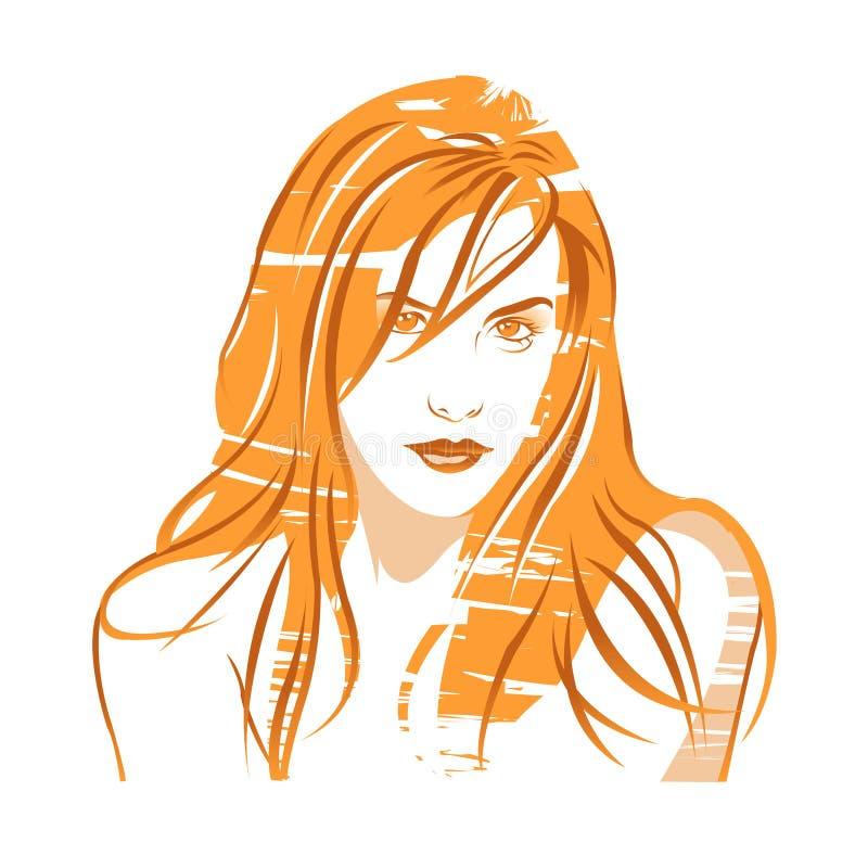Piękne kobiety portret, fryzura i kolorystyka, ilustracji