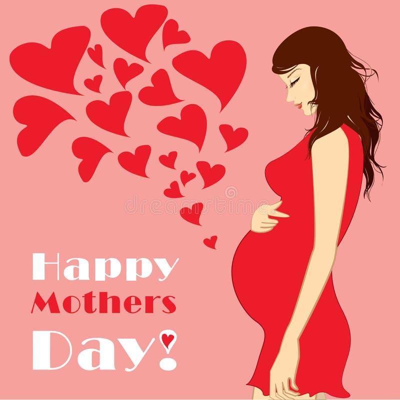 piękne kobiety w ciąży wektor ilustracji