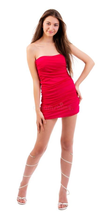 Piękne kobiety w czerwieni sukni zdjęcie royalty free