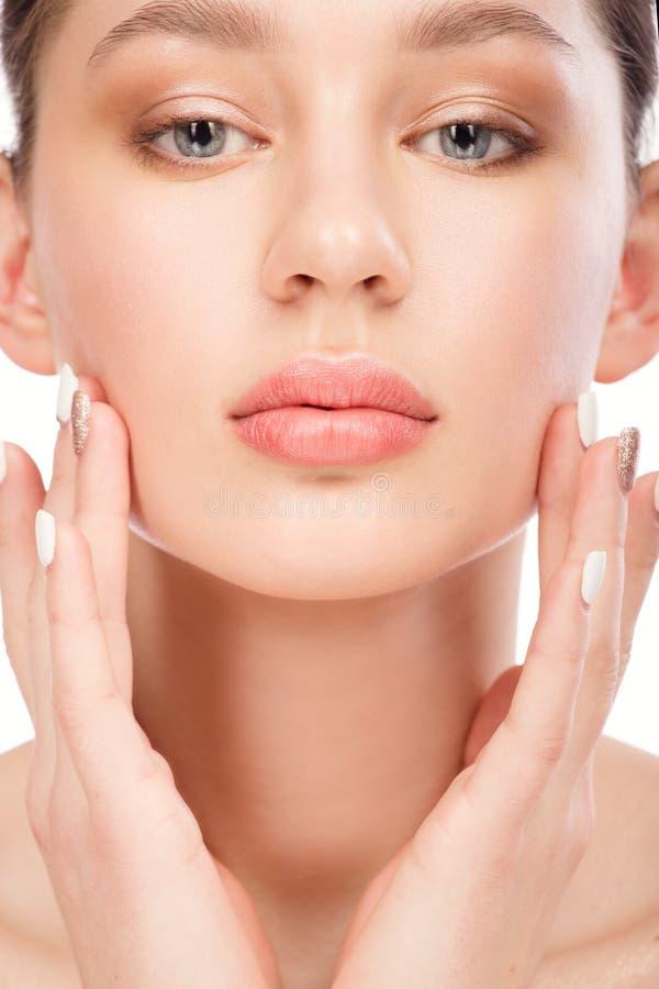 piękne kobiety young blisko twarz Kosmetologia, piękno i zdrój, fotografia stock