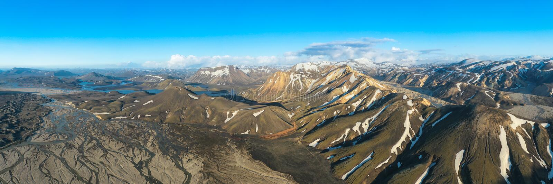 Piękne, kolorowe góry wulkaniczne Landmannalaugar w Islandii,panorama fotografia stock