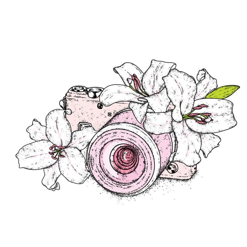 Piękne leluje i rocznik kamera również zwrócić corel ilustracji wektora delikatne kwiaty Rocznika druk na pocztówce, plakat lub o royalty ilustracja