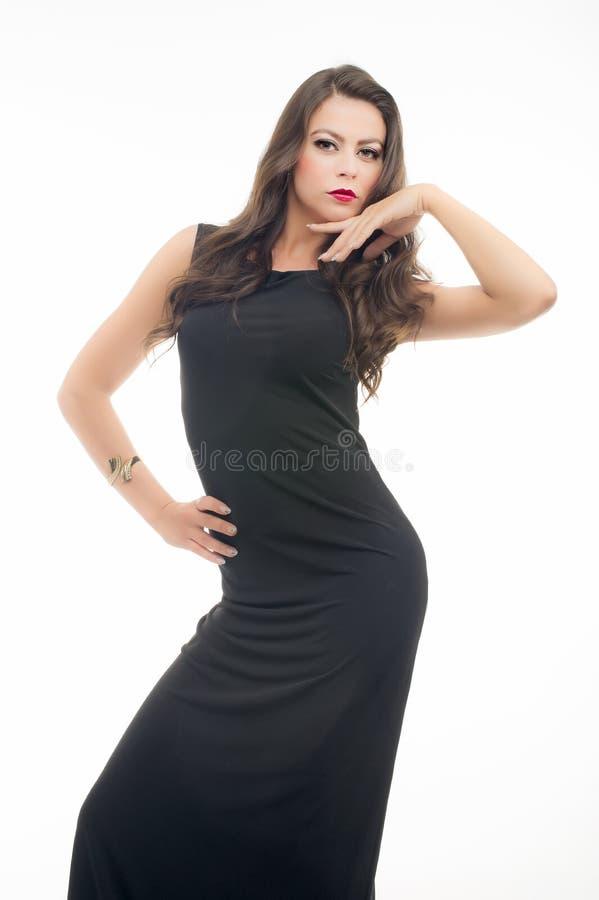 Piękne młode kobiety w czerni sukni obrazy royalty free